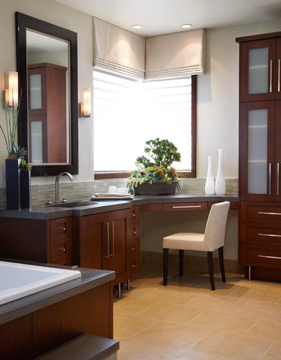 European style custom bathroom cabinets tastefully acomodates upscale interior design