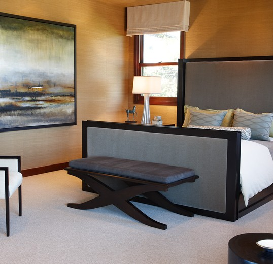 Coastal Master bedroom interior designed with custom fabric: Newport Beach